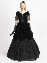 Anime Costumes AF-S2-603773 Black Gothic Costume Women's Short Sleeve Ball Gown Cotton Maxi Dress