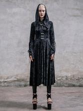 Anime Costumes AF-S2-603777 Black Retro Costume Priestess Gothic Dress Hooded Long Sleeve Punk Dress