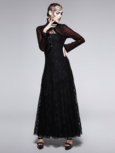 Anime Costumes AF-S2-603789 Women's Retro Costume Black Gothic Lace Long Sleeve Maxi Dress