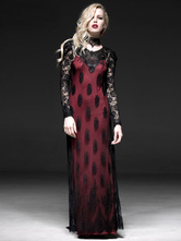 Anime Costumes AF-S2-603787 Women's Retro Costume Red Gothic Lace Long Sleeve Backless Floor Length Dress
