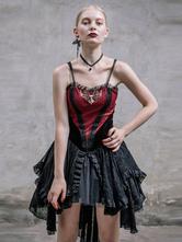 Anime Costumes AF-S2-603781 Burgundy Retro Costume Punk Gothic Dress Strapless Asymmetric Dress