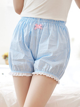 Sweet Lolita Bloomer Light Blue White Ghingham with White Trim