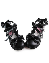 Lolitashow Matte Black Lolita Shoes with Sweet Bows