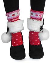 Black Velvet Lolita Heels Shoes with White Fluffy Ball