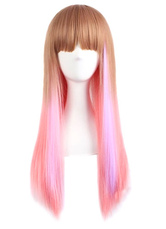 Anime Costumes AF-S2-605333 Gold Brown Pink Split Straight Synthetic Wigs