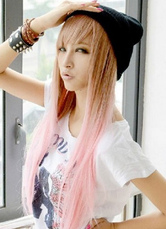 Anime Costumes AF-S2-605329 Brown Pink Layered Straight Long Synthetic Full Wigs