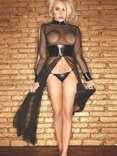 Black Superheros Semi-Sheer PU Leather Sexy Dress For Woman