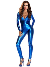 Anime Costumes AF-S2-607511 Halloween Sexy Shiny Blue Metallic Fetish Bodysuit Jumpsuit Catsuit