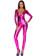 Anime Costumes AF-S2-607519 Halloween Sexy Shiny Pink Fuchsia Metallic Fetish Bodysuit Jumpsuit Catsuit