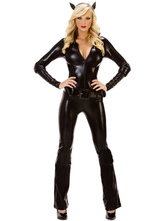 Anime Costumes AF-S2-607537 Sexy PU Catwoman Halloween Costume Catsuit Halloween Night Club Stage Outfits