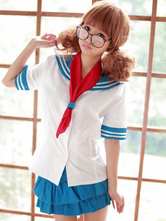 Anime Costumes AF-S2-607843 Halloween Sexy Navy Costume Blue Sailor Girl School Girl Two Pieces
