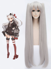 Anime Costumes AF-S2-607873 KanColle Kantai Collection Amatsukaze Cosplay Wig Silver Twintail Cosplay Wig