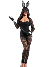 Anime Costumes AF-S2-607939 Halloween Sexy Bunny Costumes Black Laced Polyester Uniforms