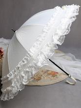 Lolitashow Sweet White Lolita Lace Umbrella Princess Parasol