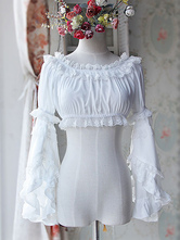 Sweet Chiffon Lolita Short Blouse Long Hime Sleeves Detachable Sleeves Pink White 2 Colors