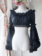 Sweet Black Light Blue Chiffon Lolita Short Blouse Long Hime Sleeves Detachable Sleeves 2 Colors