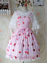 Sweet Chiffon Lolita Jumper Skirt Cherry Print Lace Trim Bow