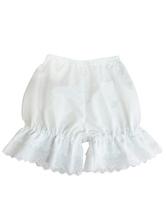 Lolitashow Sweet White Cotton Lolita Short Bloomer Hollow Trim