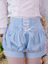 Lolitashow Sky Blue Cotton Lolita Shorts Lace Up Ruffles