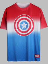 Anime Costumes AF-S2-613297 Halloween Captain American 3 Short Sleeves Cotton T-Shirt