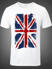Anime Costumes AF-S2-613291 Halloween The Great Britain Flag Print White T-Shirt for Man