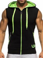 Sweat noir 2020 sans manches à zip Sweat à cordonnet couleur Block à capuche pour hommes