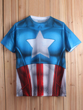 Anime Costumes AF-S2-613295 Halloween Captain American Print Short Sleeves Cotton T-Shirt