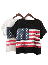 Anime Costumes AF-S2-613293 Halloween American Flag Print Short Sleeves Loose T-Shirt for Woman