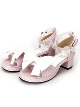Розовый квадрат Сандалии Лолита каблуки кружевной отделкой лодыжки ремень лук декор
