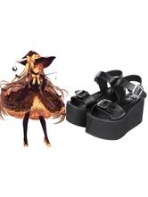 Lolitashow White/Black Lolita Sandals High Platform Square Buckles Ankle Strap