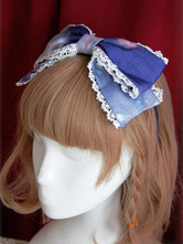 Lolitashow Süße Organza Lolita Headbow Rainbow Zuckerwatte Stickerei Trim
