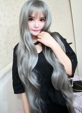 AF-S2-614005 Long Wave Full Wig With Bangs Gray Curly Wig In Heat-resistant Fiber