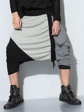 Color Block Harem Drop Crotch Dance Pants For Men