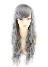Anime Costumes AF-S2-613991 Gray Side Parting Crimped Curls Long Wigs