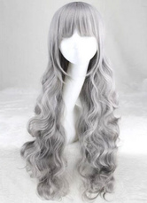 AF-S2-613993 Gray Blunt Fringe Long Curly Wigs