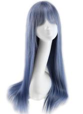 AF-S2-613983 Illusion Blue Blunt Fringe Long Straight Wigs