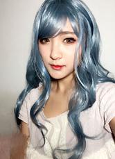 AF-S2-613985 Long Curly Wigs Women's Blue Wigs Wave Wigs In Heat-resistant Fiber