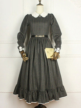 Anime Costumes AF-S2-615285 Classic Lolita Vintage Victorian Costume Winter Wool Striped School Dress