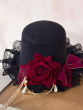 Lolitashow Dark Red Lolita Mini Hat Headdress Flower Decor Pearls Pendant