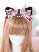 Lolitashow Sweet Dark Red Lolita Headbow Lace Cat Ear Pearls Black Version