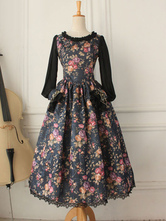 Anime Costumes AF-S2-615287 Women's Retro Costume Victorian Deep Blue Long Sleeve Floral Printed Lolita Dress