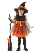 Anime Costumes AF-S2-615691 Halloween Orange Witch Costume for Kid