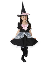 Anime Costumes AF-S2-615451 Halloween Black Witch Costume with Bow for Kid