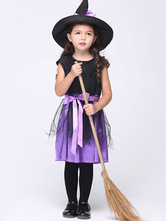 Anime Costumes AF-S2-615653 Halloween Purple Witch Costume for Kid