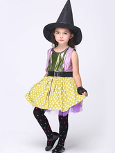 Anime Costumes AF-S2-615655 Halloween Purple Witch Costume for Kid