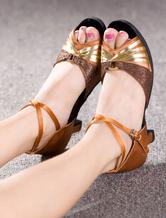 Trenzado de danza zapatos Color Block Peep Toe zapatos KNrl2XHlD