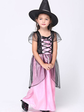 Anime Costumes AF-S2-615627 Halloween Pink Witch Costume for Kid