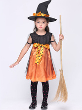 Anime Costumes AF-S2-615645 Halloween Orange Witch Costume for Kid