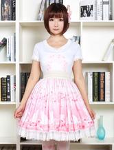 Lolitashow Cute Lolita Dress Pink Sakura Kitty Printed Lolita Skirt With White Lace Trim Shirring