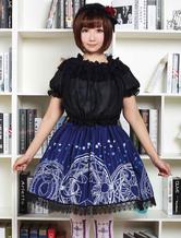 Lolita azul vestido Lolita bonito laço saia com impressão de círculo mágico